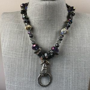 Jewelry - Steam punk purple glass beaded necklace with hand